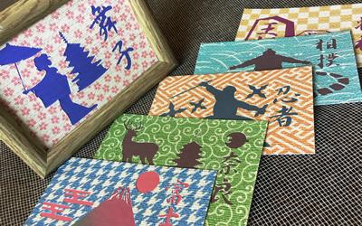 奈良県伝統の目の粗い薄織物の企画・製造の上島織布工場(うえじまおりふこうじょう)のふすま地を使ったポストカード